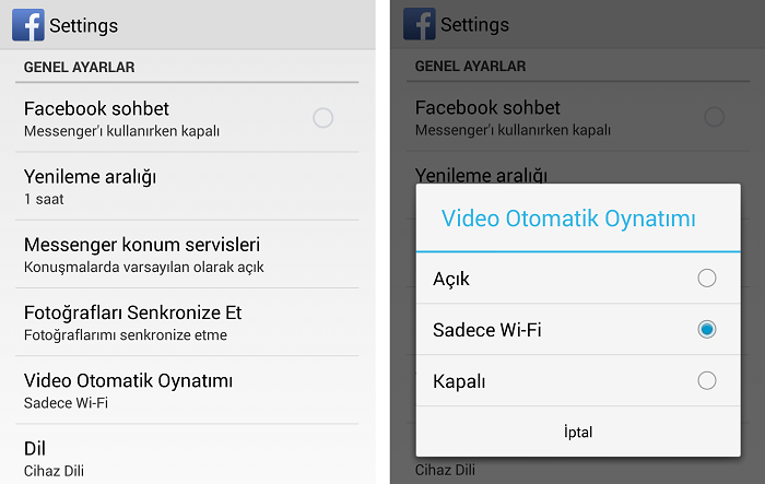 android-faceotomatik-video-kapali